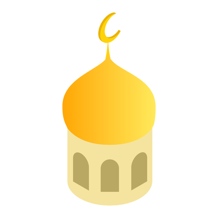 Mosque dome and Islamic crescent isometric 3d icon on a white background