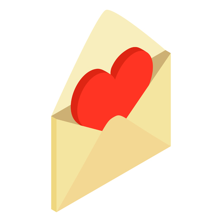 love icon: Yellow envelope with red valentine heart isometric 3d icon on a white background