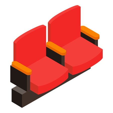moviehouse: Cinema armchair 3D isometric icon on a white background Illustration