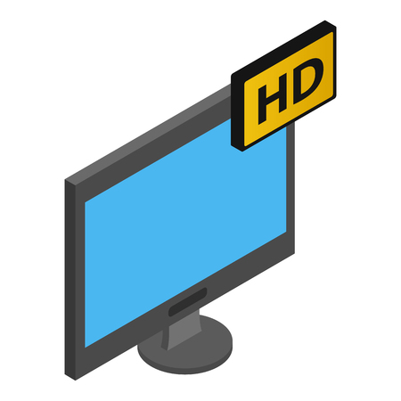 fullhd: TV HD isometric 3d icon isolated on a white background Illustration