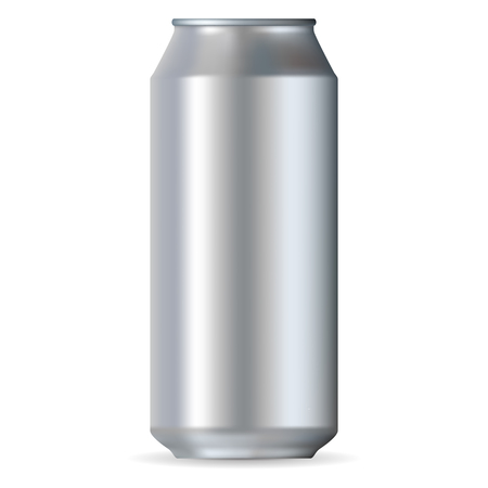 water can: Realistic aluminum can isolated on a white background Illustration