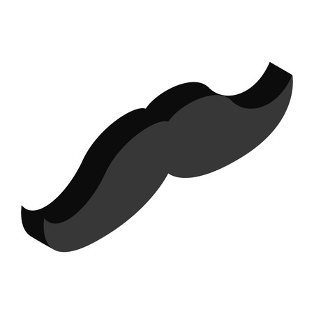 hair mask: Mustache isometric 3d icon isolated on a white background