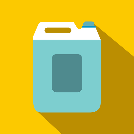 canister: Plastic canister flat icon with shadow on orange background Illustration