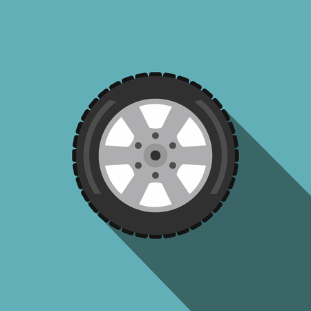 wheel car: Automobile flat wheel icon with shadow on a blue background