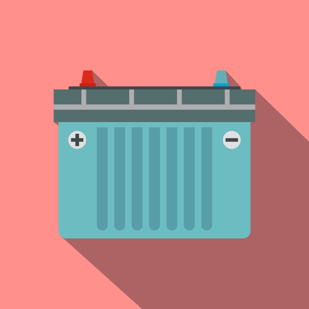 alternator: Car battery flat icon with shadow on a pink background