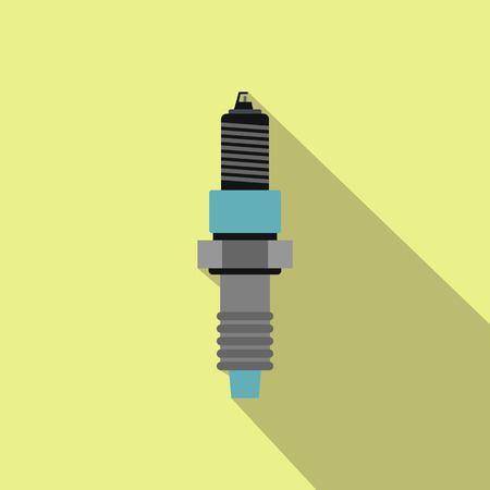 catalyst: Plug flat icon with a shadow on a yellow background
