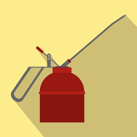 flammability: Fire extinguisher flat icon with shadow on a yellow background