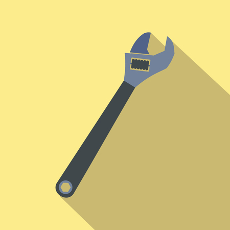 crescent wrench: Adjustable wrench flat icon with shadow on a yellow background