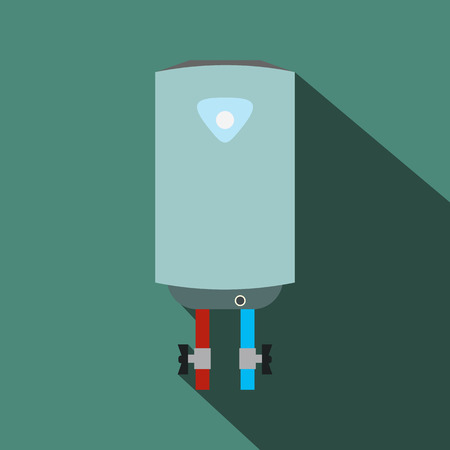 thermodynamic: Boiler flat icon with shadow on a green background Illustration