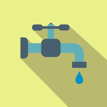 trickle: Faucet flat icon with shadow on a yellow background Illustration