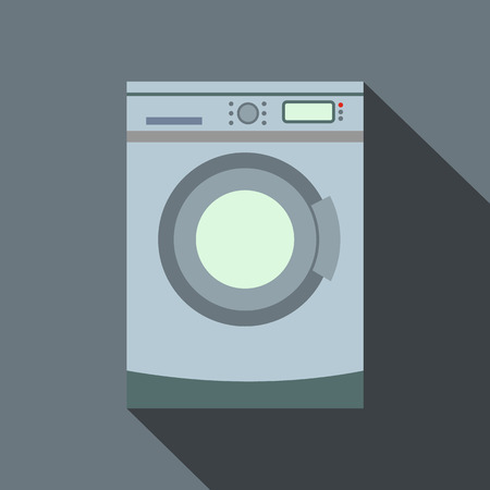 fully automatic: Washer flat icon with shadow on a gray background