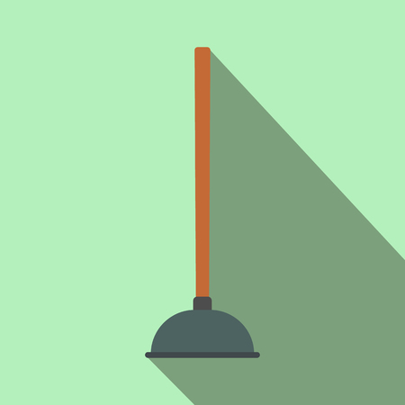 unblock: Plunger flat icon with shadow on a green background Illustration