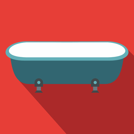 toiletry: Blue bathtub, flat design. Icon with long shadow on red background