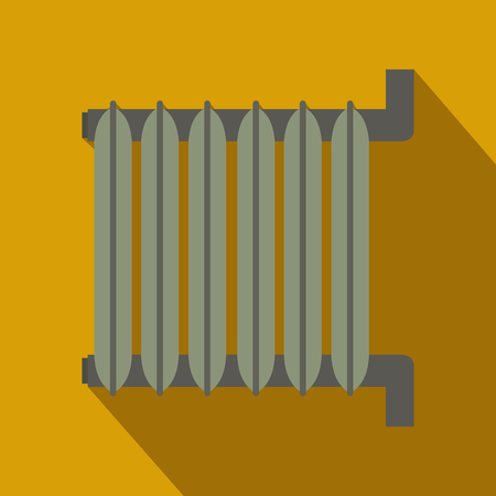 warmth: Gray radiator, flat design. Icon with long shadow on yellow background Illustration