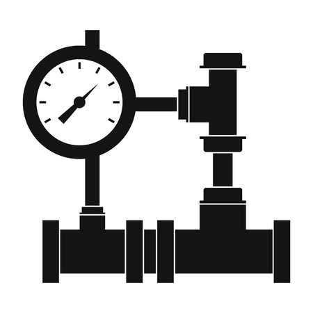 gas meter: Water pipe meter of water, gas on a white background, black simple