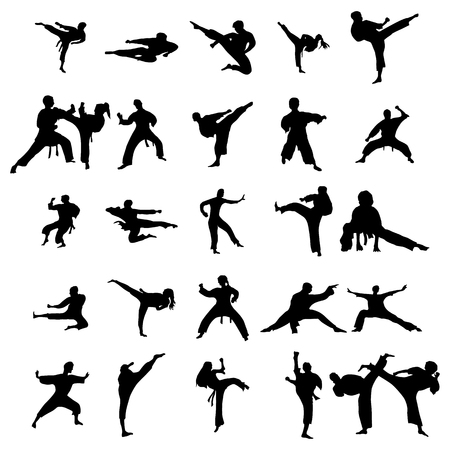 sidekick: Karate silhouettes set isolated on the white background
