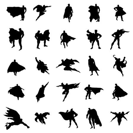silueta: Hombre siluetas Superhero conjunto aislado sobre fondo blanco