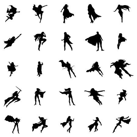 Superhero vrouw silhouetten die geïsoleerd op een witte achtergrond Stock Illustratie