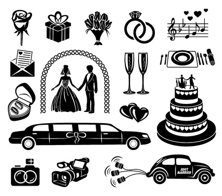 Wedding black simple icons set for web and mobile devices