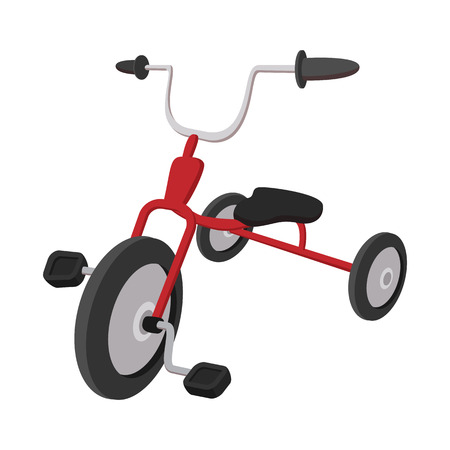 cartoon circus: Children red tricycle cartoon icon on a white  background