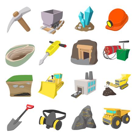 mining truck: Mining icons cartoon set with miner hammer truck bulldozer
