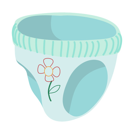 pampers: Blue baby pants with flower cartoon icon on a white  background Illustration