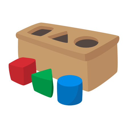juguetes de madera: icono del juguete del Clasificador de dibujos animados sobre un fondo blanco Vectores