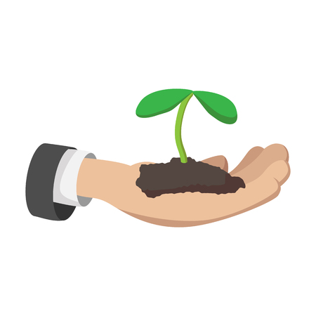plant hand: Hand holding young plant cartoon icon on a white background Illustration