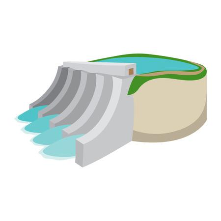 흰색 배경에 수력 발전소 만화 아이콘
