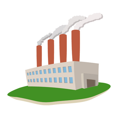Fumes coming out of power plant cartoon icon on a white background