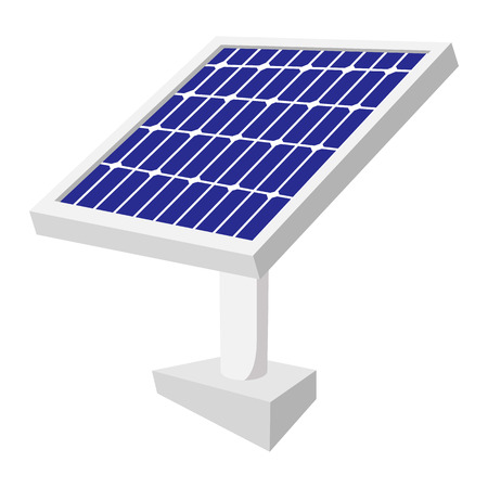 environmental analysis: Solar battery cartoon icon on a white background