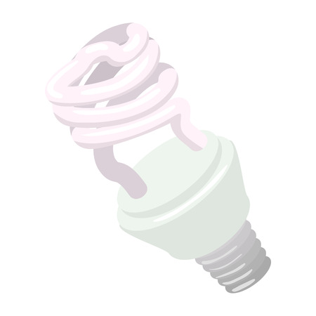 wattage: Efficient powersaving bulb cartoon icon on a white background