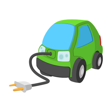 plug electric: Green electric car cartoon icon on a white background
