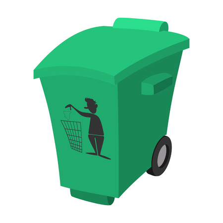 tare: Green garbage, trash bin cartoon icon on a white background