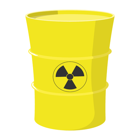 Cartoon barrel with nuclear waste isolated on white background Illustration