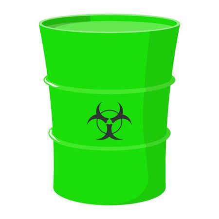 residuos toxicos: barril de dibujos animados con residuos t�xicos en un fondo blanco aislado