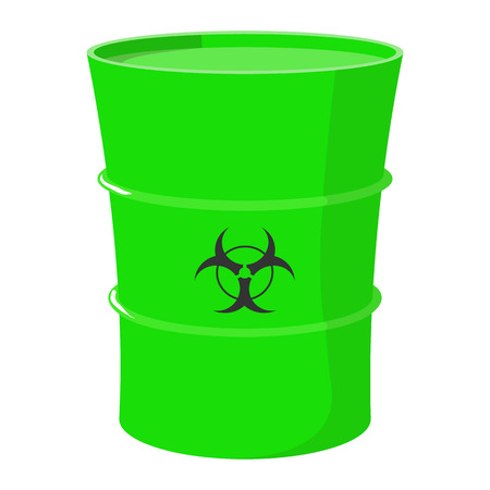 toxic waste: Cartoon barrel with toxic waste on a white background isolated