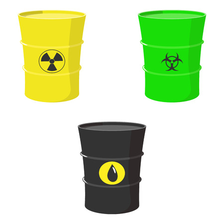 Conjunto de dibujos animados de barriles con aceite, tóxicos y los residuos nucleares aisladas sobre fondo blanco