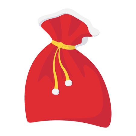 bagful: Christmas sack cartoon icon isolated on white background