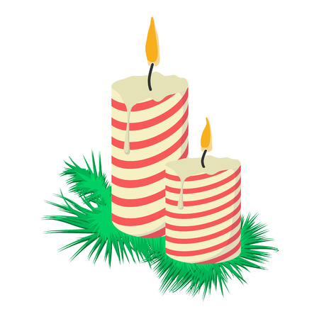 suppository: Cartoon candles on a Christmas tree branch isolated on white background