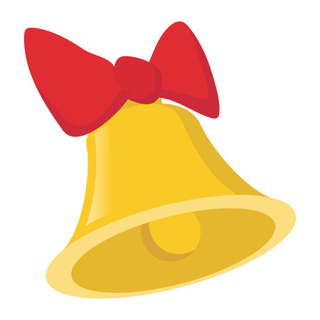 ding dong: Bell with a bow cartoon icon isolated on a white background
