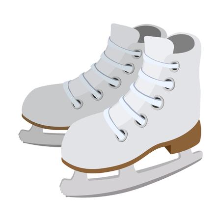 ice slide: Pair of skates cartoon icon isolated on a white background Illustration
