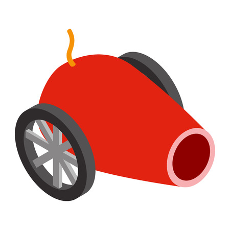 wheel guard: Circus cannon isometric 3d icon isolated on a white background
