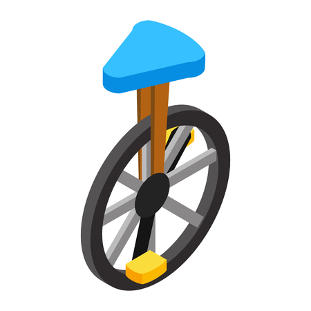 velocipede: Circus unicycle isometric 3d icon isolated on a white background