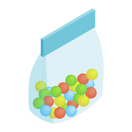 sweetmeats: Package candy isometric 3d icon isolated on a white background