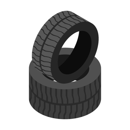 weary: Wheels isometric 3d icon isolated on a white background Illustration