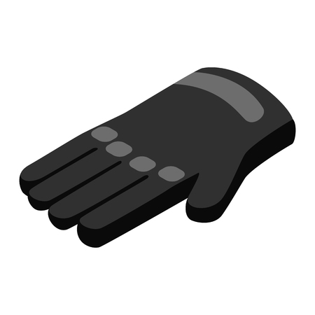 latex glove: Black gloves 3d isometric icon isolated on a white background Illustration