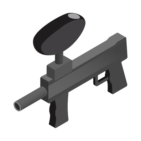 paintball: Black paintball marker isometric 3d icon on a white background