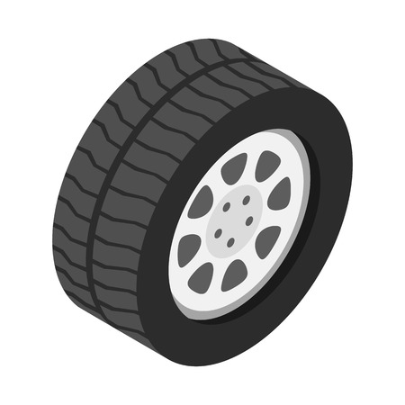 a wheel: Car wheel isometric 3d icon on a white background