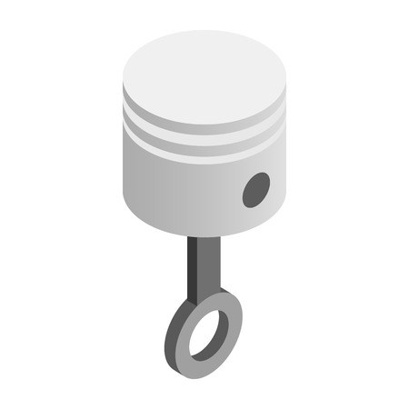 dismounted: Piston isometric 3d icon on a white background